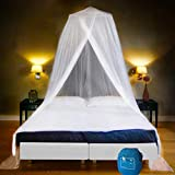 EVEN NATURALS Luxury Bed Canopy Mosquito Net, Largest: for Single to King Size, Quick Easy Installation, Finest Holes: Mesh 380, Curtain Netting, 2 Entries, Storage Bag, No Chemicals Added