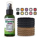 Kinven Anti Mosquito Repellent Bundle - 2oz Spray Bottle + 8 Bracelets, Brown/Black, Mosquito Repellent Bracelet & Insect Spray, Waterproof, Natural, DEET-Free, Indoor & Outdoor Protection