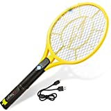 Tregini Large Electric Fly Swatter 2 Pack – Rechargeable Bug Zapper Tennis Racket with Safe to Touch Mesh Net and Built-in Flashlight - Kills Insects, Gnats, Mosquitoes and Bugs